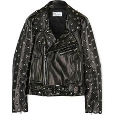 Redvalentino Eyelet Detail Biker Jacket (9.011.260 IDR) ❤ liked on Polyvore featuring outerwear, jackets, black, black leather jacket, genuine leather jacket, black motorcycle jacket, biker jacket and leather moto jacket