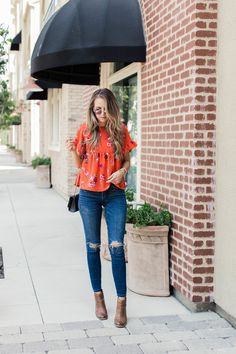 Red floral top with ruffle sleeves via Asos | merricksart.com #merrickstyles #fallstyle