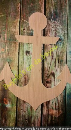 Unfinished Wooden ANCHOR -  Wooden Blanks, Wooden Shapes, Wooden Wreath Shapes, Wooden Door Hangers, Shape Blanks