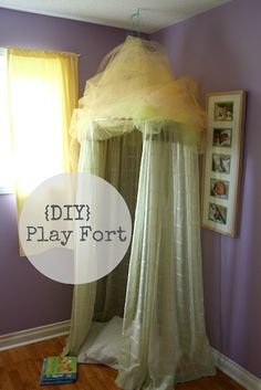 This hula hoop curtain fort will look adorable in the corner of her room and offer a charming retreat for her to read tales of make believe princesses. Princess room. DIY. Pink. Tips.