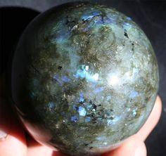 large labradorite sphere, natural stone crystal ball, metaphysical healing stone, blue flash labradorite sphere, bohemian home rock decor on Etsy, $78.00