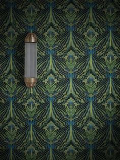 A decadent, feathered, Art Deco influenced print, will bring unapologetic glamour and depth to any interior. A classic, refreshed. Art Deco Wallpaper, Feature Wallpaper, Luxury Wallpaper, Bathroom Wallpaper, Art Deco Living Room Wallpaper, Paint Wallpaper, Wallpaper Samples, Bathroom Art, Bathrooms