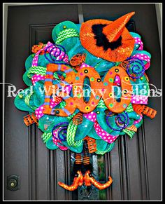 Halloween Wreath Deco Mesh Wreath Mesh by RedWithEnvyDesigns, $155.00