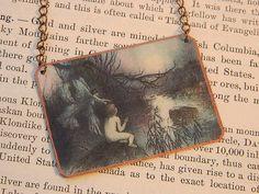 Fairy necklace art jewelry mixed media jewelry