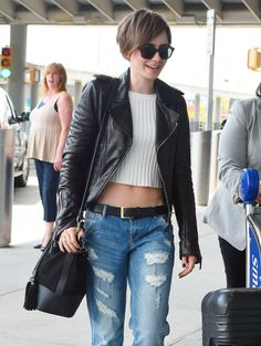 Lily Collins in Boyfriend Jeans.                                                                                                                                                                                 More