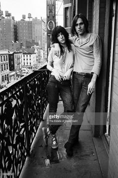 Poet and singer Patti Smith and singer songwriter Eric Anderson pose for a portrait on May 4, 1971 on a balcony at the Hotel Chelsea in New York City, New York.