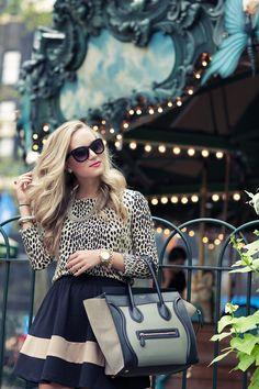 Celine shopper tote, leopard, flouncy skirt