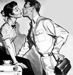 """Have a good day, honey."" Mid mod illustration."