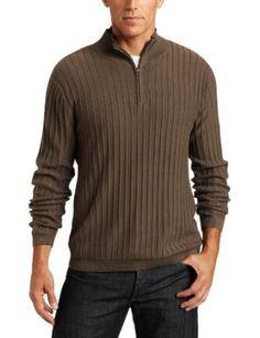 Alex Stevens Men`s Ribbed Quarter Zip Mock Neck Sweater $35.00