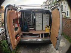 Resultado de imagen para -Rakes-Shovel-Loppers van racking Storage Van Storage, Tool Storage, Storage Drawers, Cargo Trailers, Utility Trailer, Ford Transit, Van Organization, Van Shelving, Van Racking