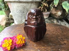 Japanese Small Ittobori Wood Carving Of Bodhidharma Daruma Okimono. On offer is an old small ittobori hand carving figure of Bodhidharma. Highly articulated angry face. Dirt dust may be noticed. Nice vintage condition. Please view all photos in zoom mode to appreciate. Old item, please expect wearing.  Bodhidharma was a Buddhist monk who lived during the 5th or 6th century. He is traditionally credited as the transmitter of Chan Buddhism to China, and regarded as its first Chinese patriarch…
