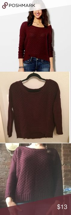 American Eagle Maroon 3/4 Sleeve Sweater Cute burgundy/maroon/wine colored sweater with 3/4 Sleeve, boxy style.  In excellent condition, worn once! Originally purchased from Marshall's.  Fits true to size but meant to look oversized. American Eagle Outfitters Sweaters Crew & Scoop Necks