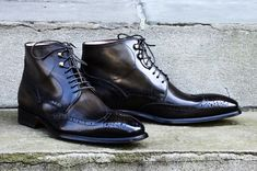 Hand Stitched Men Lace Up Classic Brogues Designer Leather boots, online boots - Boots