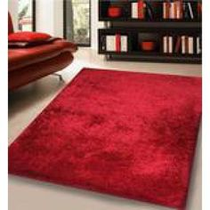 Modern Solid Red Area Rug Hand Tuffted 100 Percent Polyester. (5 Feet x 7 Feet)
