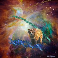 """Grizzly in Orion  Contact: Marv Lyons - 619.691.8776  lyons@visionsynthesis.net  36"""" x 35"""" print on fine watercolor paper or canvas $615 • Shipping Extra"""
