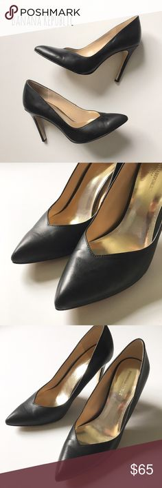 """Black Leather Pumps Chic and sexy black leatherette pumps by Banana Republic. ▪️4"""" heel ▪️Only worn a few times; I just can't do 4 inches unless it's a wedge! ▪️In great condition; my loss is your gorgeous gain!  🚭 Smoke-free home 📬 Ships by next day 💲 Price negotiable  🔁 Open to trades  💟Happy Poshing!💟 Banana Republic Shoes Heels"""