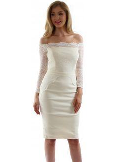 Tempest Lottie Cream Off The Shoulder Scalloped Lace Pencil Dress