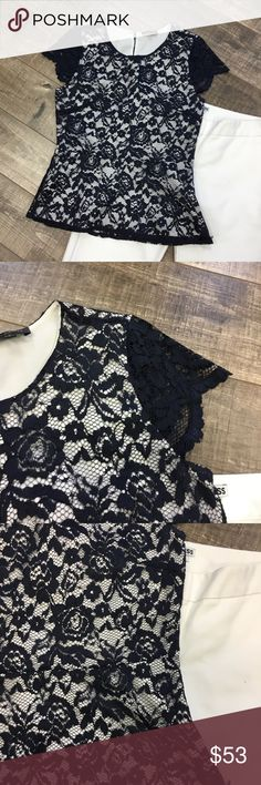 Navy lace cap shoulder blouse Girly, classy, keyhole back, flattering The Limited Tops Blouses