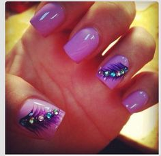 Square gels with lilac & purple feathers