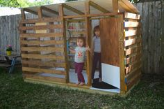 Pallet Kids Playhouse Ideas : Pallet Kids Playhouse Ideas Picture Modern Diy Outdoor Playhouse Tour And How To. Kids Playhouse Plans, Modern Playhouse, Outside Playhouse, Backyard Playhouse, Build A Playhouse, Pallet Playhouse, Playhouse Decor, Simple Playhouse, Backyard Fort