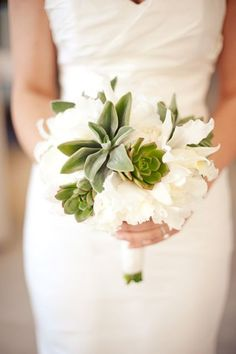 White bouquet with just a few succulents mixed in for my bridesmaids