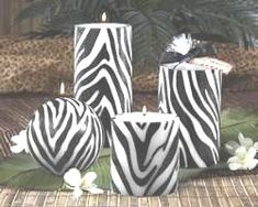 Zebra Print Desk Supplies | zebra print pillar candles add a finishing touch to your zebra decor ...