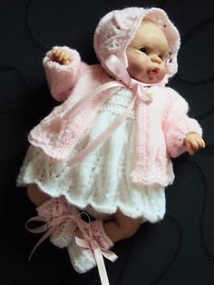 "hand knitted outfit for 7""- 8"" doll or  OOAK Sculpt Baby"