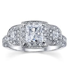 (Limited Supply) Click Image Above: 18k White Gold 1 3/4ct Tdw Certified Halo Princess Diamond Ring (h-i, Si2-si3)