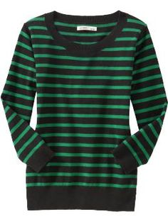 green and black striped sweater