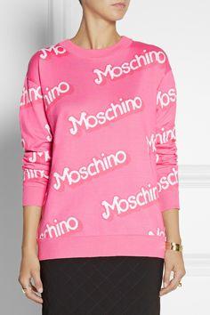 Moschino|Intarsia cotton sweater|NET-A-PORTER.COM