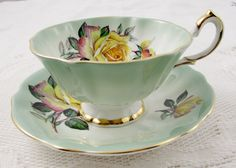 Queen Anne Tea Cup and Saucer Green Tea Cup with by TheAcreage