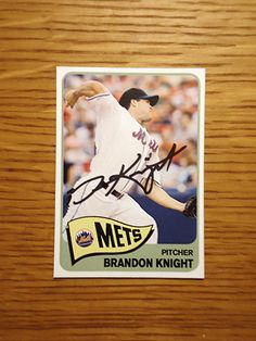 Brandon Knight: (2008 New York Mets) Custom made Mets baseball card signed in black sharpie. (From my All-Time Mets Roster collection.)