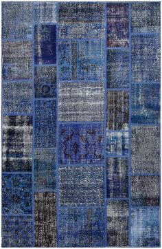 Vintage Patchwork Overdyed Blue Wool Rug 19016