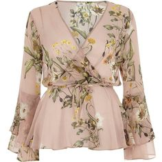 Shop for Womens Pink floral wrap frill sleeve blouse by River Island at ShopStyle. Floral Blouse, Printed Blouse, Ruffle Blouse, Floral Tops, Long Blouse, Wrap Blouse, Saree Blouse, Blouse Styles, Blouse Designs