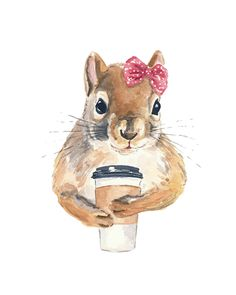 Squirrel Print - Watercolor Painting Print, Coffee Squirrel, Female Red Squirrel, 5x7 Print by WaterInMyPaint on Etsy https://www.etsy.com/listing/164432525/squirrel-print-watercolor-painting-print