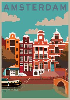 vintage travel posters | Vintage Retro Style Travel Poster - Amsterdam by robdevenney