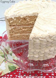 Cake with Eggnog Buttercream Frosting Delicious Eggnog Cake with Eggnog Buttercream! Recipe by Delicious Eggnog Cake with Eggnog Buttercream! Holiday Cakes, Christmas Desserts, Christmas Treats, Christmas Baking, Christmas Cakes, Meery Christmas, Christmas Recipes, Xmas, Eggnog Cake