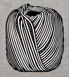 darksilenceinsuburbia: Roy Lichtenstein (1923-1997). Ball of Twine, 1963. Magna on canvas, 172.7 x 91.4 cm (40 x 36 in). © Estate of Roy Lichtenstein. Christie's