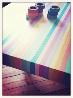 une table Lack qui devient un arc en ciel grâce à de jolis rubans de masking tape !