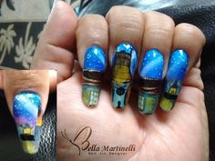 My Hand Painted Nail Art Work was inspired by The Chinese Theater in the heart of Hollywpod, Ca. Originally known as Grauman's Chinese Theater. #GelishPlayAtHome #NAILSNTNA #HPNA #BellaMartinelli #nailart #nailsmagazine #notpolish #acrylicpainting