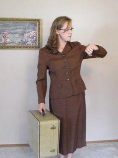 Vintage 40s Skirt Suit Tailored Brown Jacket Handmacher Weathervane