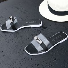 Transparent Metal Peep Toe Flat Casual Slippers For Women