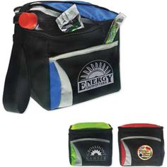 """The Wave cooler is designed to hold 6 cans of your favorite refreshment. Constructed out of 600 denier polyester with dobby accents and lead-free PEVA lining. Includes heat sealing, an adjustable shoulder strap, and an outer pocket. Perfect for schools, picnics, or a day on the golf course. The Wave may be customized with your company name and logo or purchased without imprint. Measures 8 3/4"""" x 7 1/4"""" x 5 1/2"""" with a 4"""" x 3 1/2"""" imprint area."""