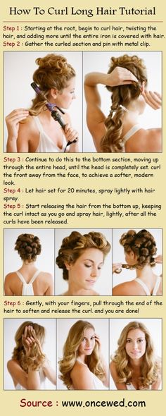 "How To Curl Long Hair Tutorial : I've never done the ""pin the curls and let them set"", I hope it really is the magic I'm missing! - hair-sublime.com"