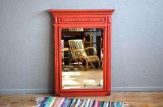 Miroir ancien trumeau patiné rouge années 50 miroir biseauté vintage rétro shabby chic bohème