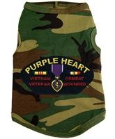 $21.95 - #Military perfection in a spandex/cotton, #dog #tank for your #pets to represent your #PurpleHeart #veteran! We salute our #troops for everything they do 365 days a year!  Available in sizes XS-3XL at Sugar Chic Couture:  https://www.sugarchiccouture.com/ProductDetails.asp?ProductCode=PHDT-009 #doglovers #shop #dogs #gifts #fashion #puppies #America #camouflage #camo #army #fatigue #soldier #MemorialDay #FourthofJuly #LaborDay #USA #America #war #medal