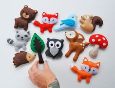 Plush Woodland Creatures - Deer, Bear, Owl, Blue Bird, Squirrel, Porcupine, Raccoon, Red Fox, Orange Fox, Mushroom, Tree by CarrotFever on Etsy https://www.etsy.com/listing/233420001/plush-woodland-creatures-deer-bear-owl