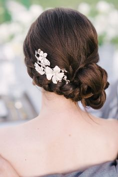 Gorgeous braided bun updo by michelereneehairandmakeup.com, photo by rusticwhitephotography.com