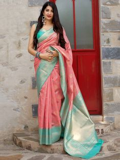 Peach Banarasi Silk Traditional Woven Saree with Contrast Border and Pallu Kurta Designs, Half Saree Designs, Saree Blouse Designs, Kanjivaram Sarees Silk, Indian Silk Sarees, Soft Silk Sarees, Saree Color Combinations, Wedding Saree Collection, Indian Outfits