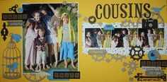 Bella's Scrappin' Space - Cousins page using lots of die cuts